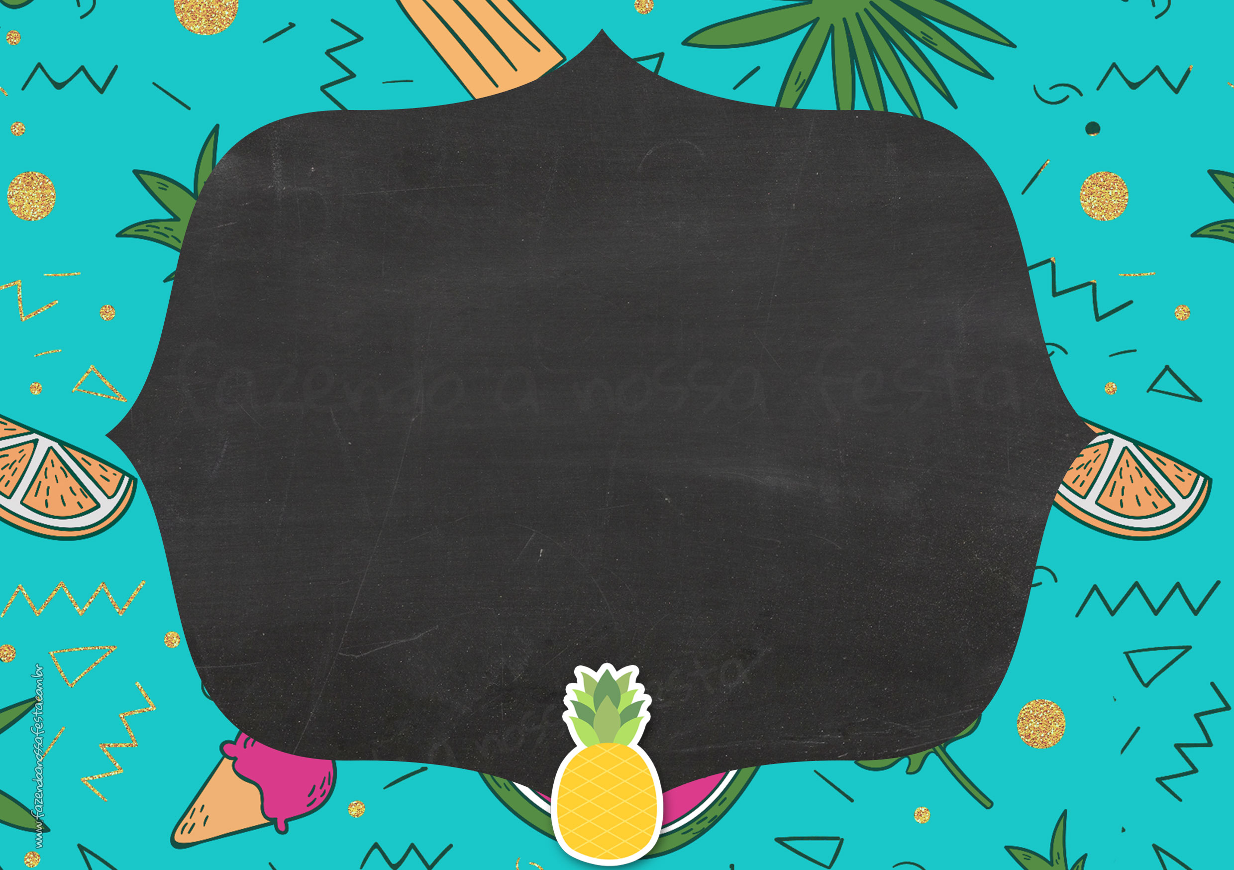Convite Chalkboard Flamingo Tropical 4