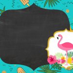 Convite Chalkboard Flamingo Tropical 5