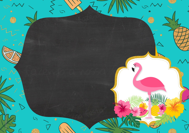 Convite Chalkboard Flamingo Tropical 5