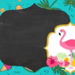 Convite Chalkboard Flamingo Tropical 6