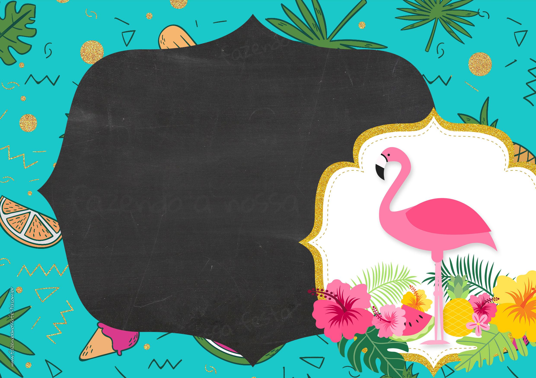 Convite Chalkboard Flamingo Tropical 6
