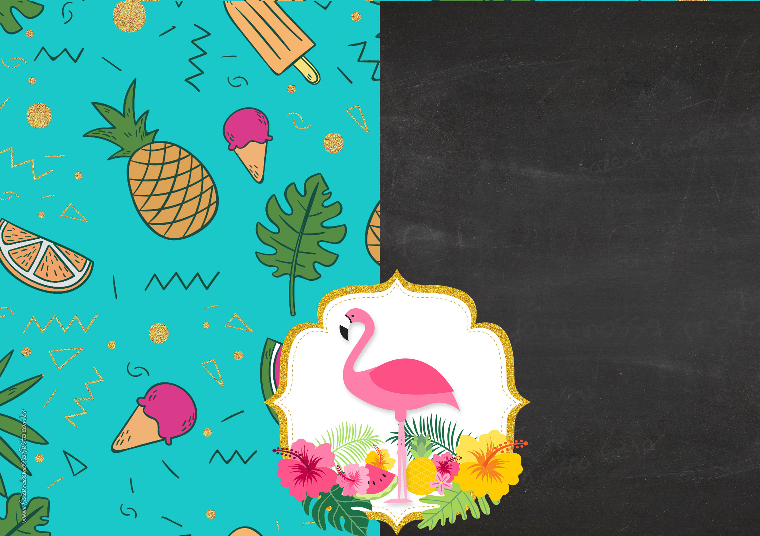 Convite Chalkboard Flamingo Tropical 7