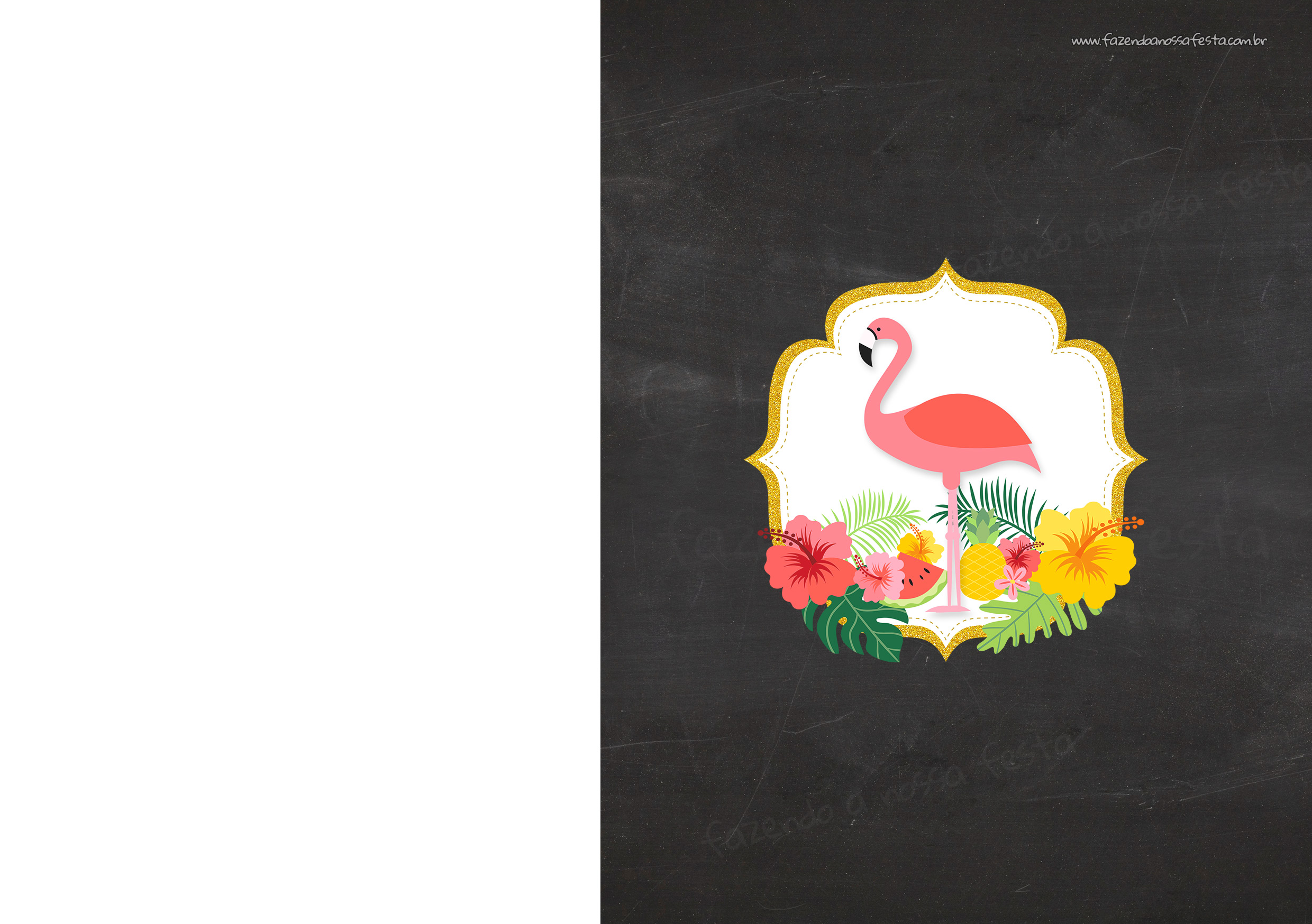 Convite Chalkboard Flamingo Tropical