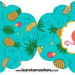 Convite Cupcake Flamingo Tropical