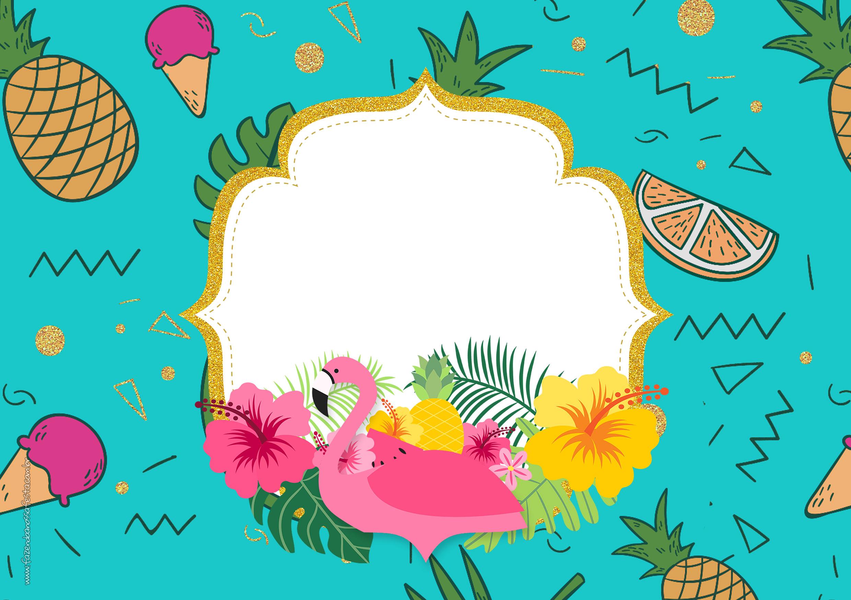 Convite Flamingo Tropical para Imprimir