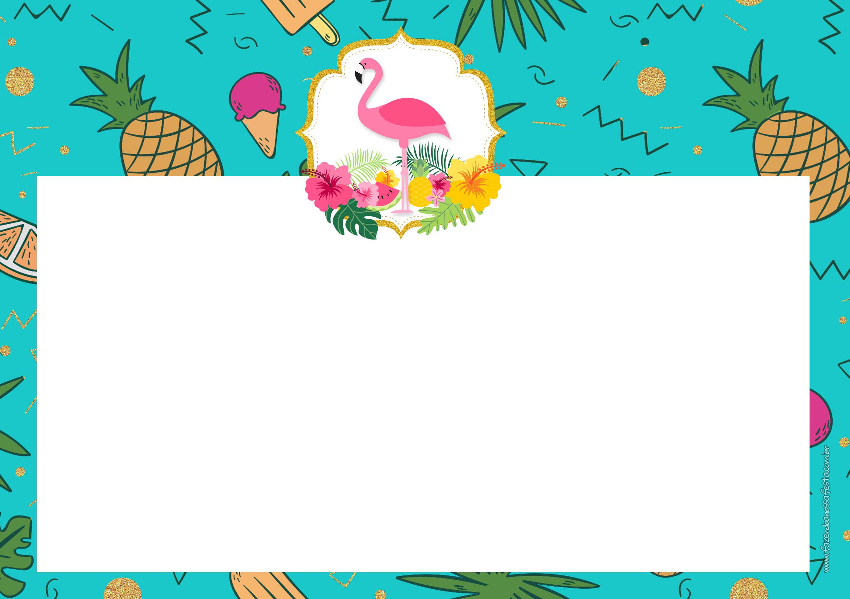 Convite para festa Flamingo Tropical 6