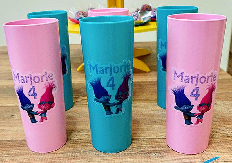 Copo Personalizado Festa Infantil Trolls da Marjorie