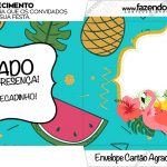 Envelope do Cartao Agradecimento Flamingo Tropical