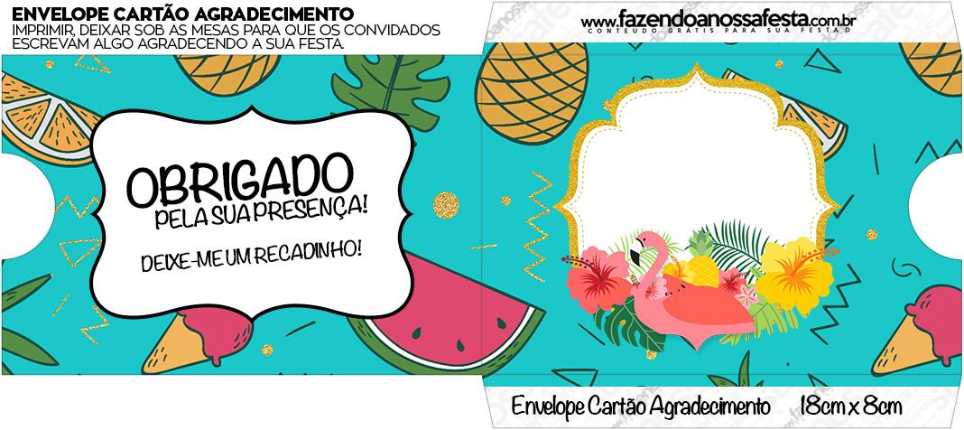 Envelope Do Cartao Agradecimento Flamingo Tropical Fazendo A