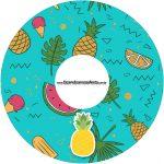 Etiqueta CD DVD Flamingo Tropical Kit Festa