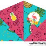 Cone Guloseimas 4 lados Flamingo Tropical