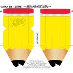 Mini Caixa Lápis Dia do Professor Amarelo