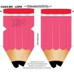 Mini Caixa Lápis Dia do Professor Verde Rosa