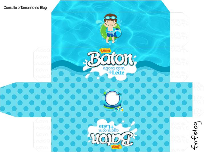 Molde Caixa Baton Pool Party Menino