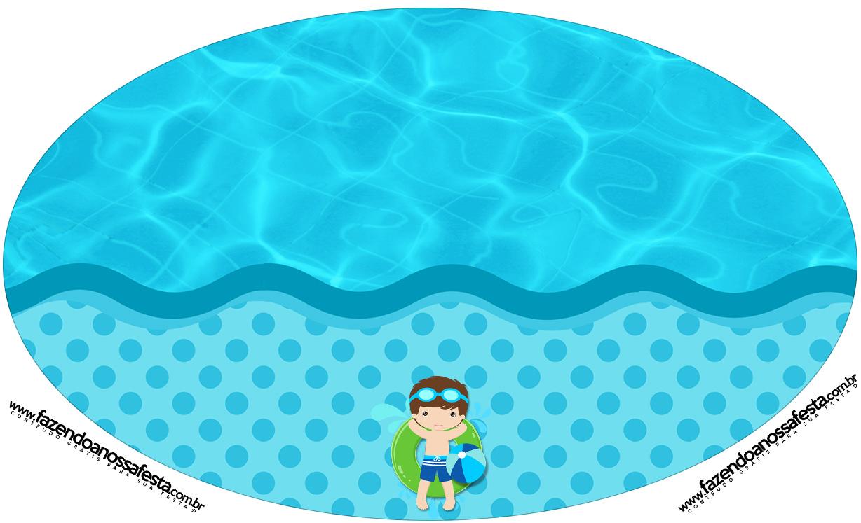 Placa Elipse Pool Party Menino