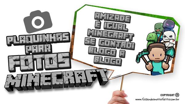 Letras Minegraft Fazendo A Nossa Festa: Plaquinhas Festa Minecraft Grátis Para Imprimir Em Casa