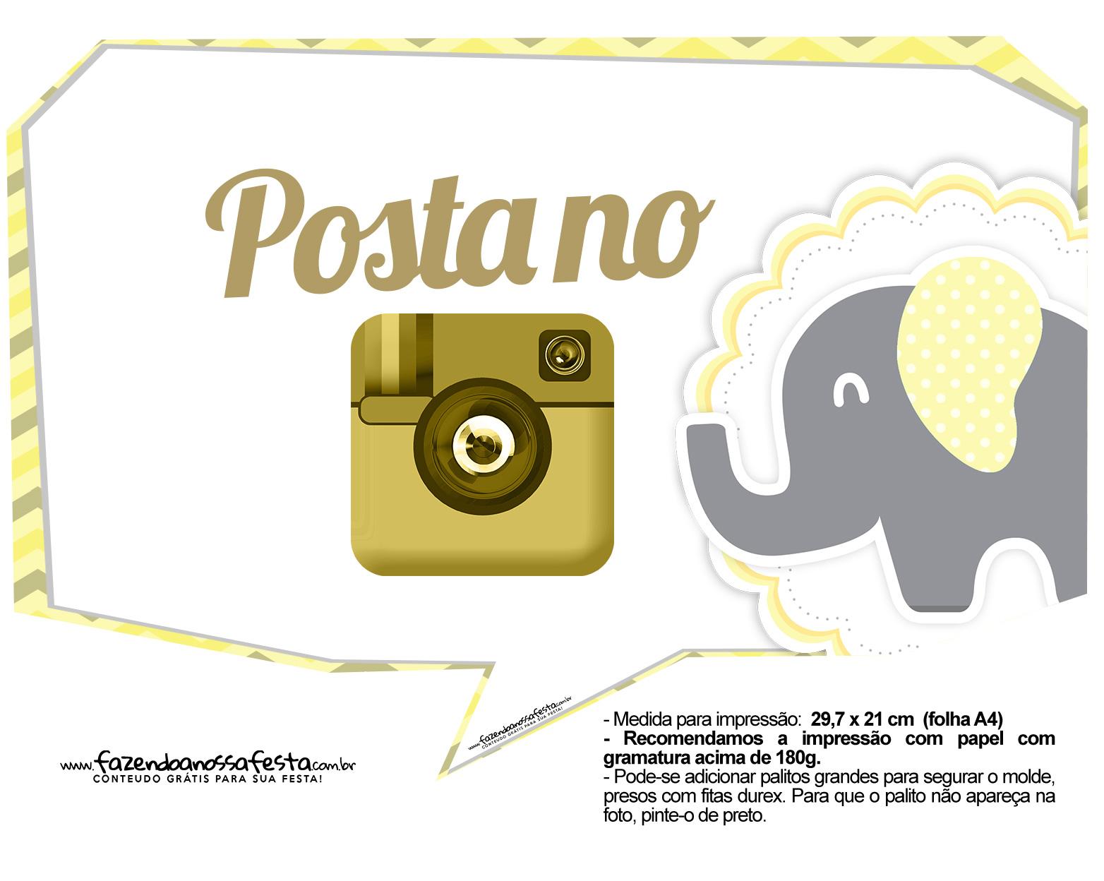 Plaquinhas Elefantinho Amarelo e Cinza Chevron