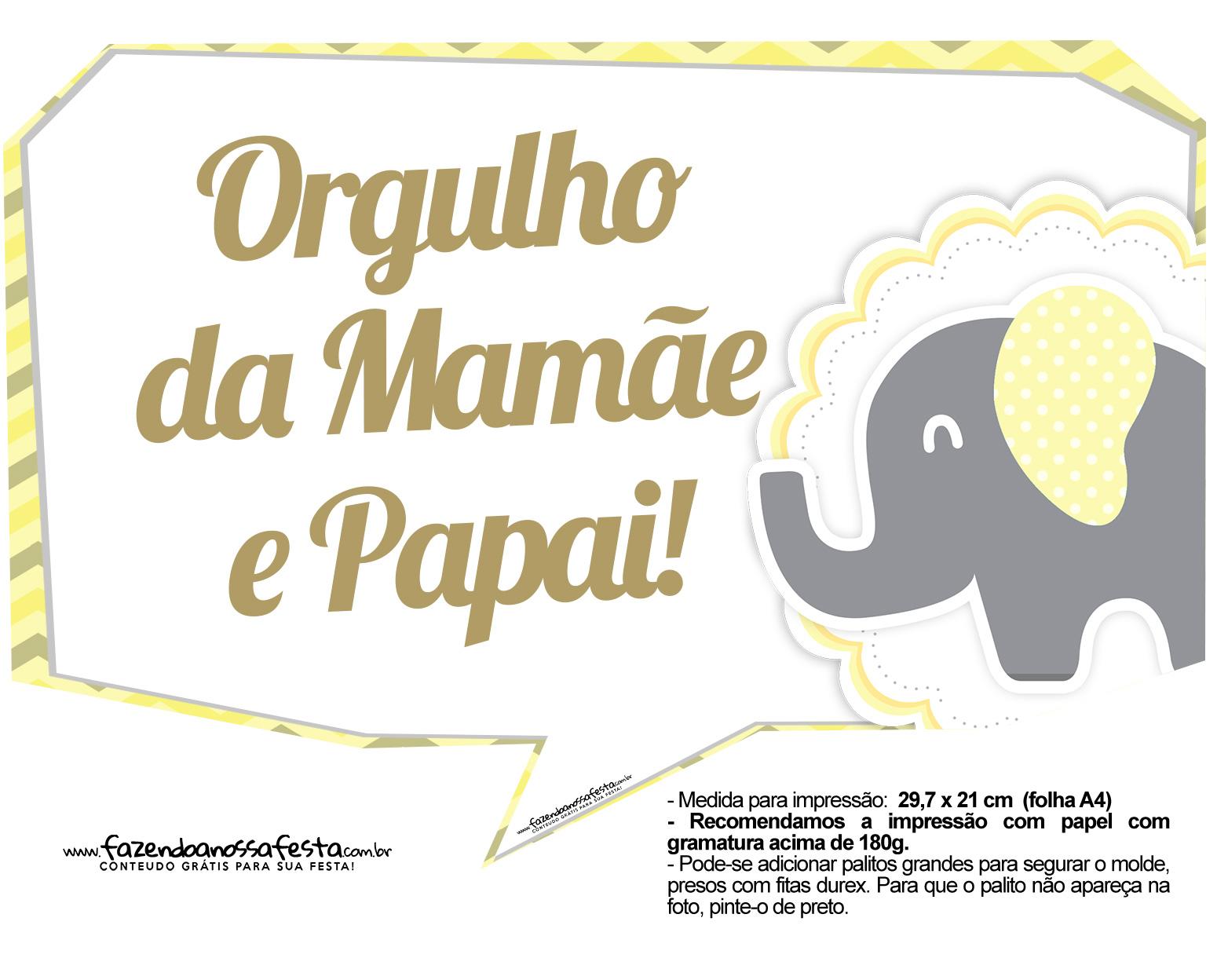 Plaquinhas Elefantinho Amarelo e Cinza Chevron 3