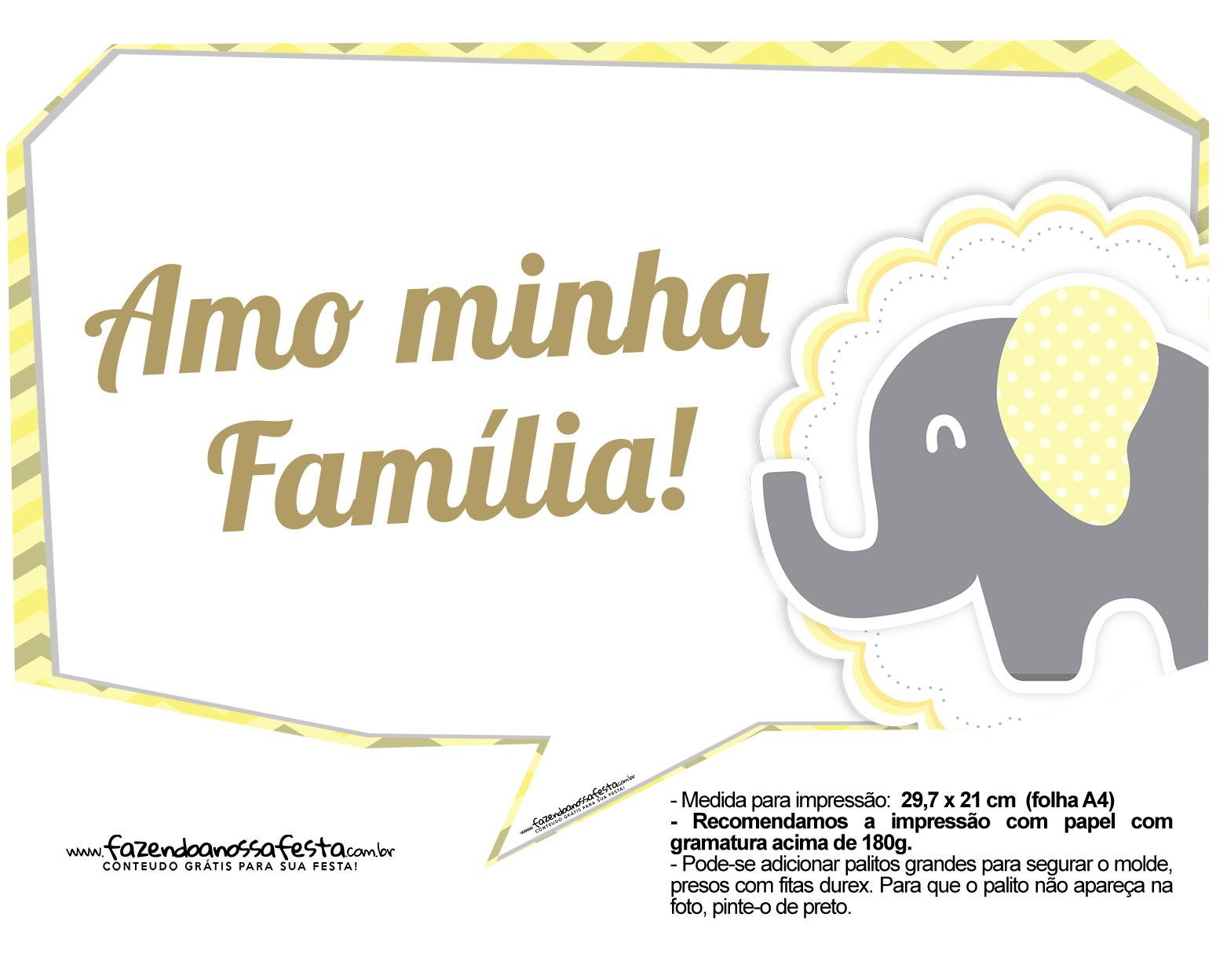 Plaquinhas Elefantinho Amarelo e Cinza Chevron 4