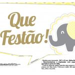 Plaquinhas divertidas Elefantinho Amarelo e Cinza Chevron 5