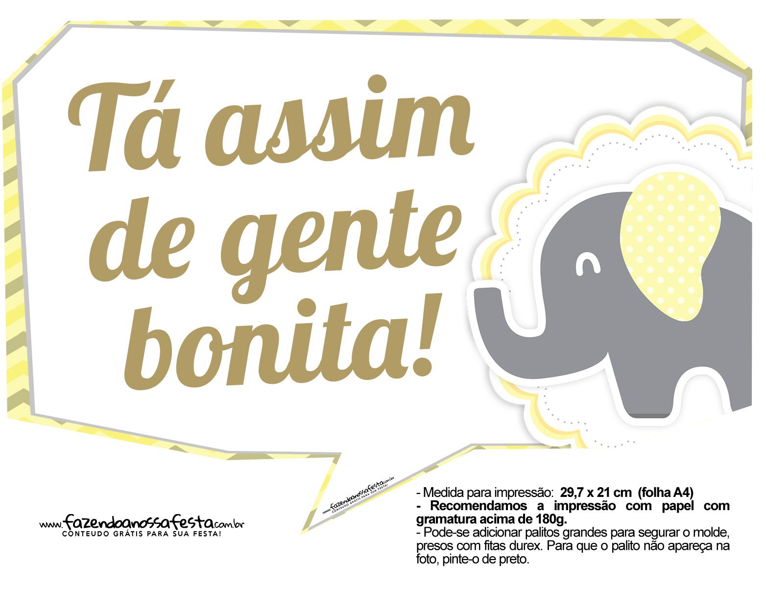 Plaquinhas divertidas Elefantinho Amarelo e Cinza Chevron 6