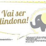 Plaquinhas divertidas Elefantinho Amarelo e Cinza Chevron 7