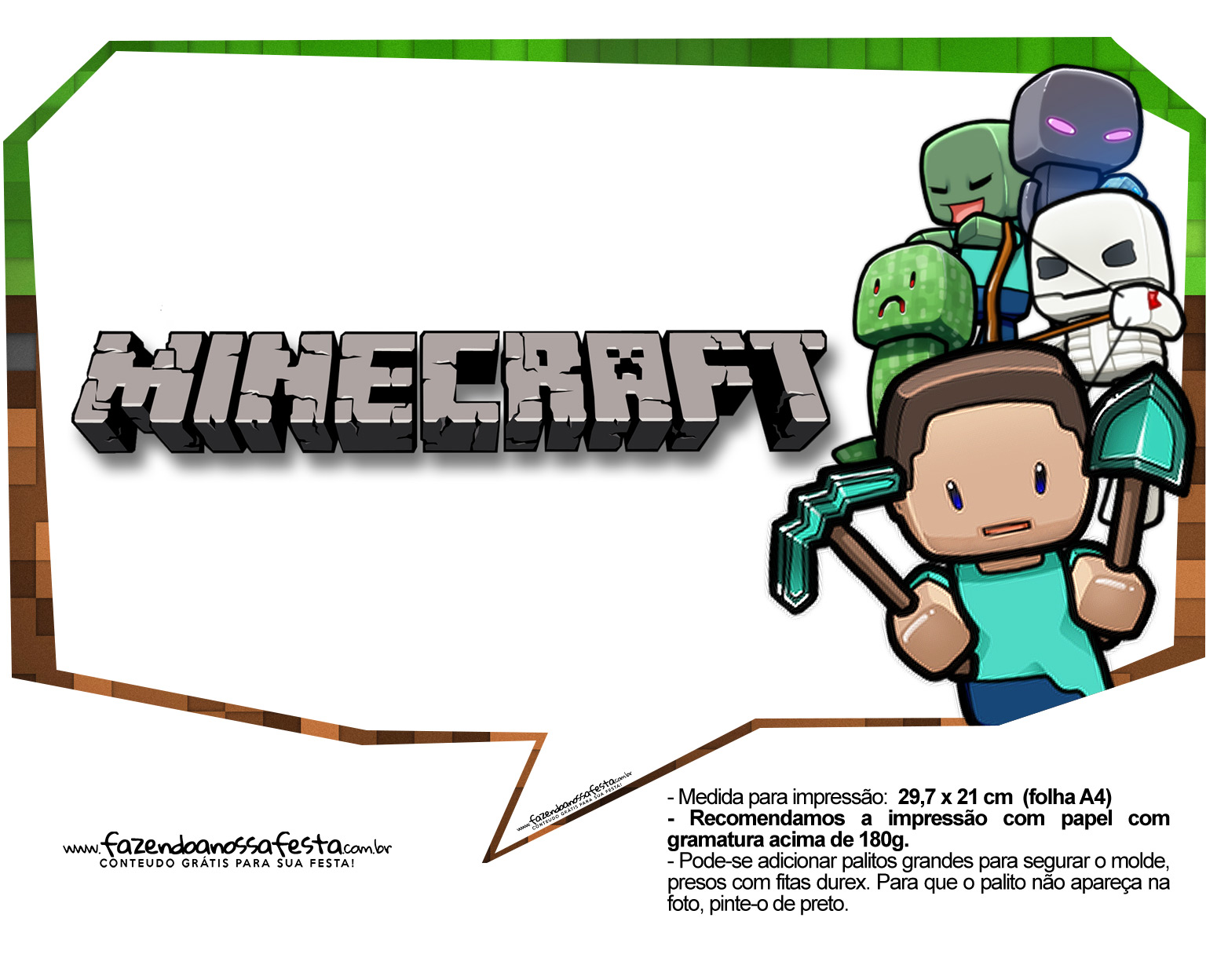 Plaquinhas Festa Minecraft 3