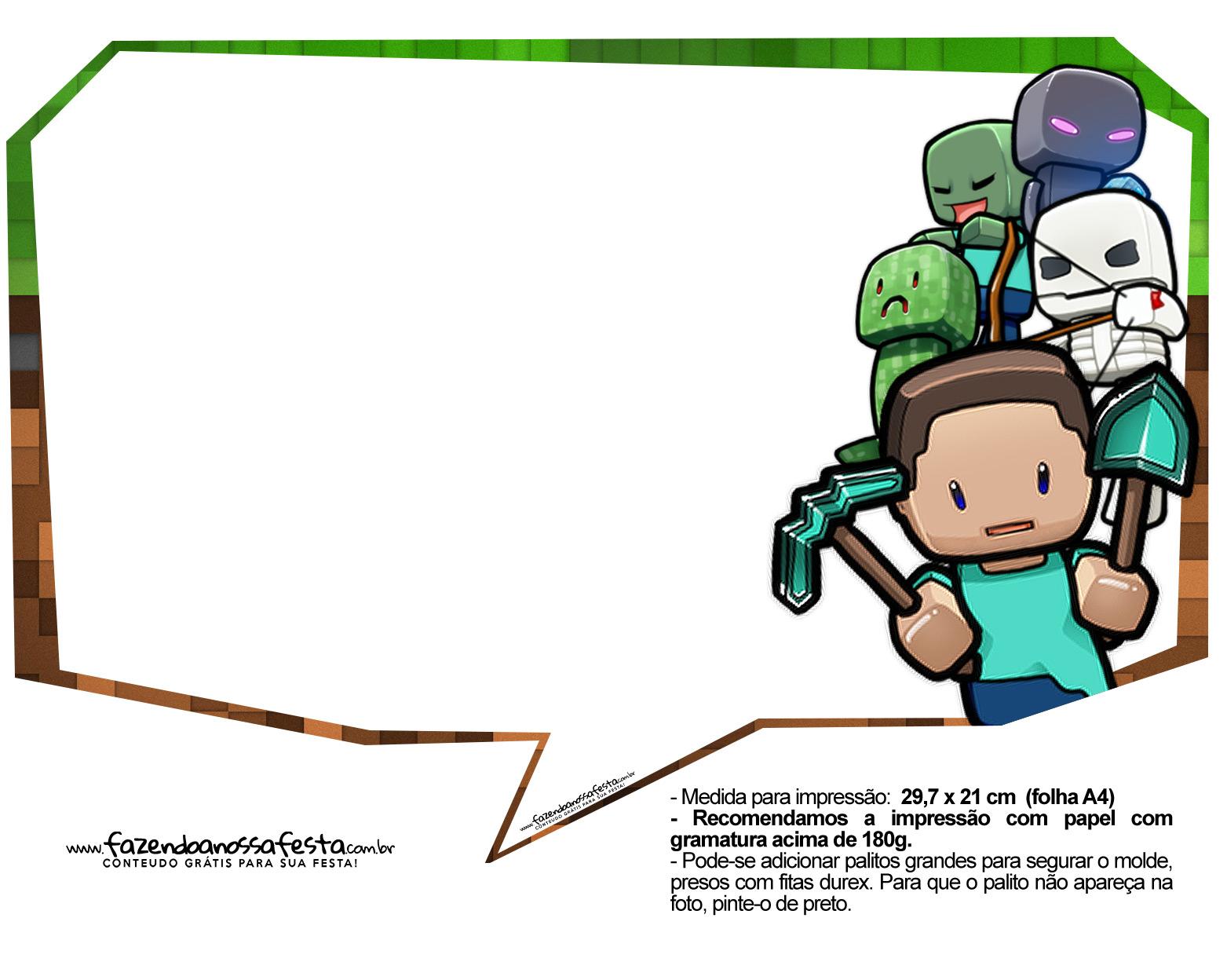 Plaquinhas Festa Minecraft 5