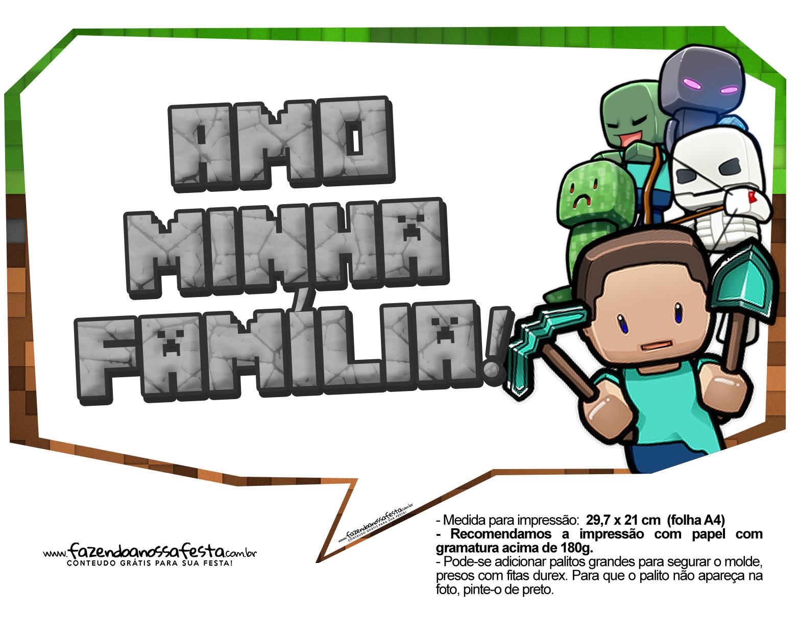 Letras Minegraft Fazendo A Nossa Festa: Plaquinhas Para Festa Minecraft 31