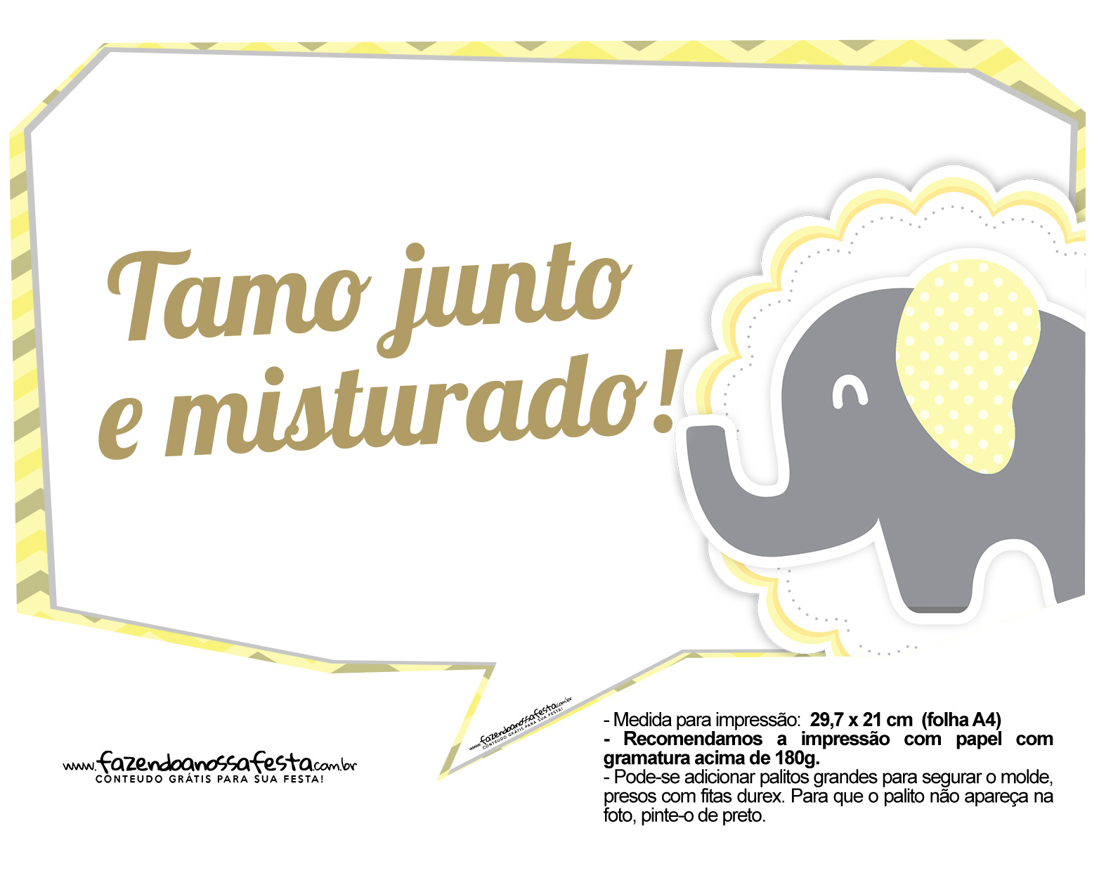 Plaquinhas para Festa Elefantinho Amarelo e Cinza Chevron 11