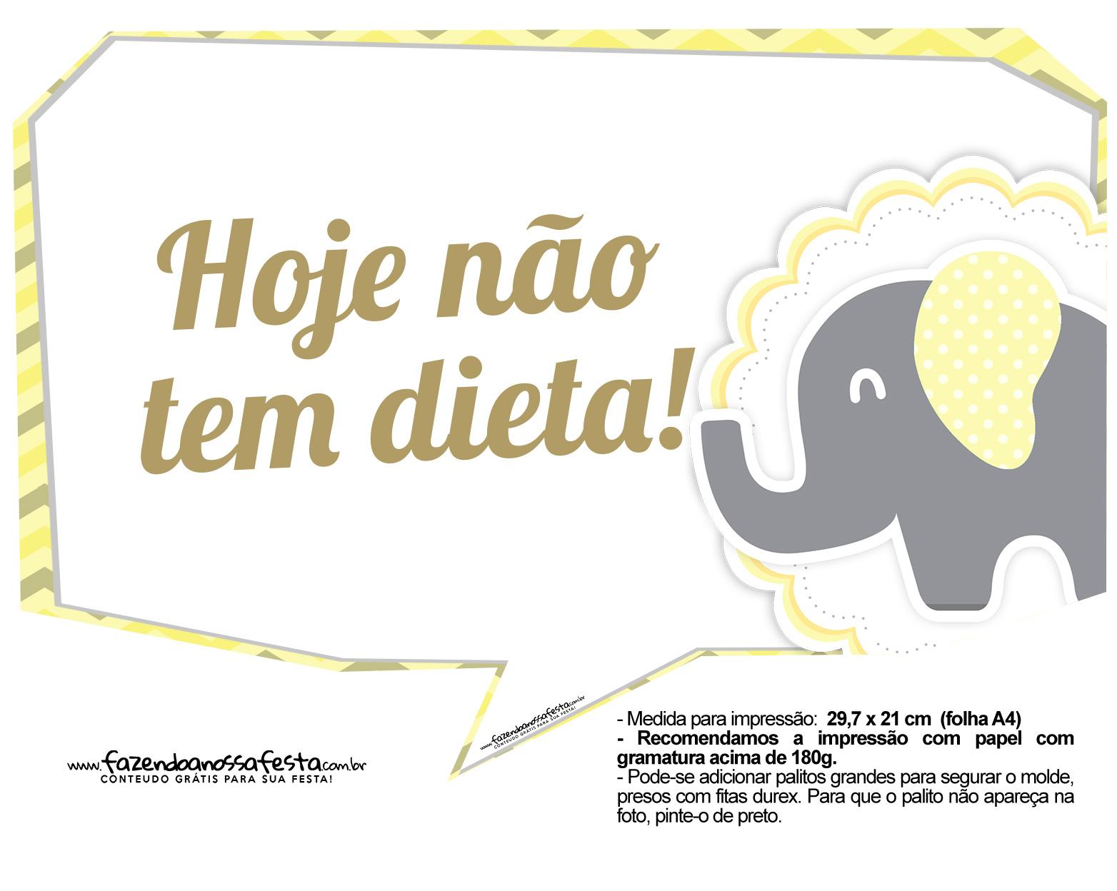 Plaquinhas para Festa Elefantinho Amarelo e Cinza Chevron 12