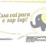 Plaquinhas para Festa Elefantinho Amarelo e Cinza Chevron 13