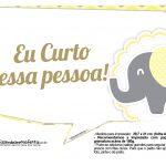 Plaquinhas para Festa Elefantinho Amarelo e Cinza Chevron 14