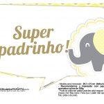 Plaquinhas para Festa Elefantinho Amarelo e Cinza Chevron 15
