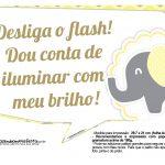 Plaquinhas para Festa Elefantinho Amarelo e Cinza Chevron