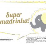 Plaquinhas para Festa Elefantinho Amarelo e Cinza Chevron 16