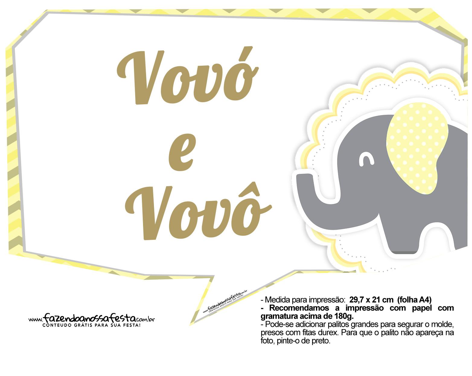 Plaquinhas para Festa Elefantinho Amarelo e Cinza Chevron 17