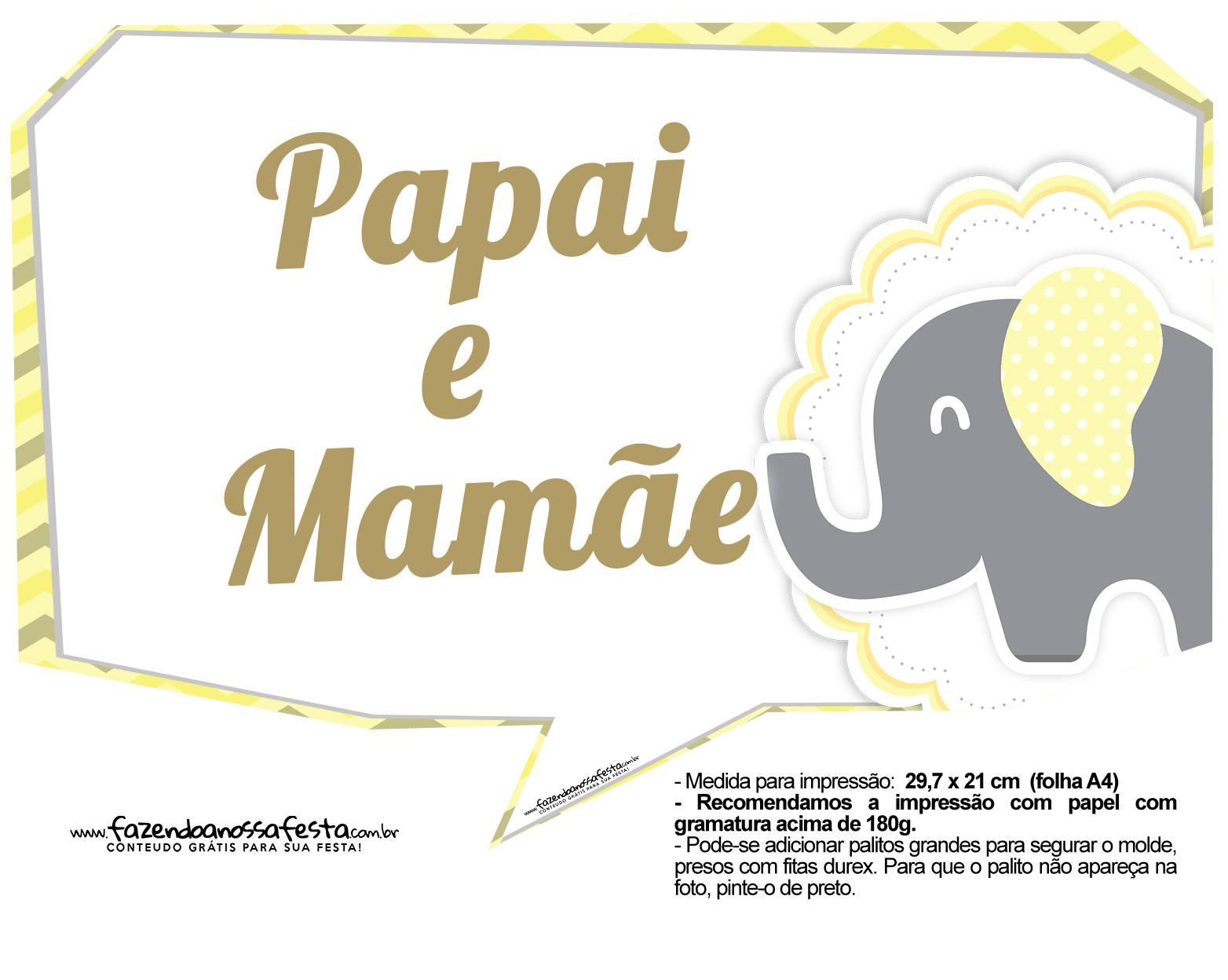 Plaquinhas para Festa Elefantinho Amarelo e Cinza Chevron 18