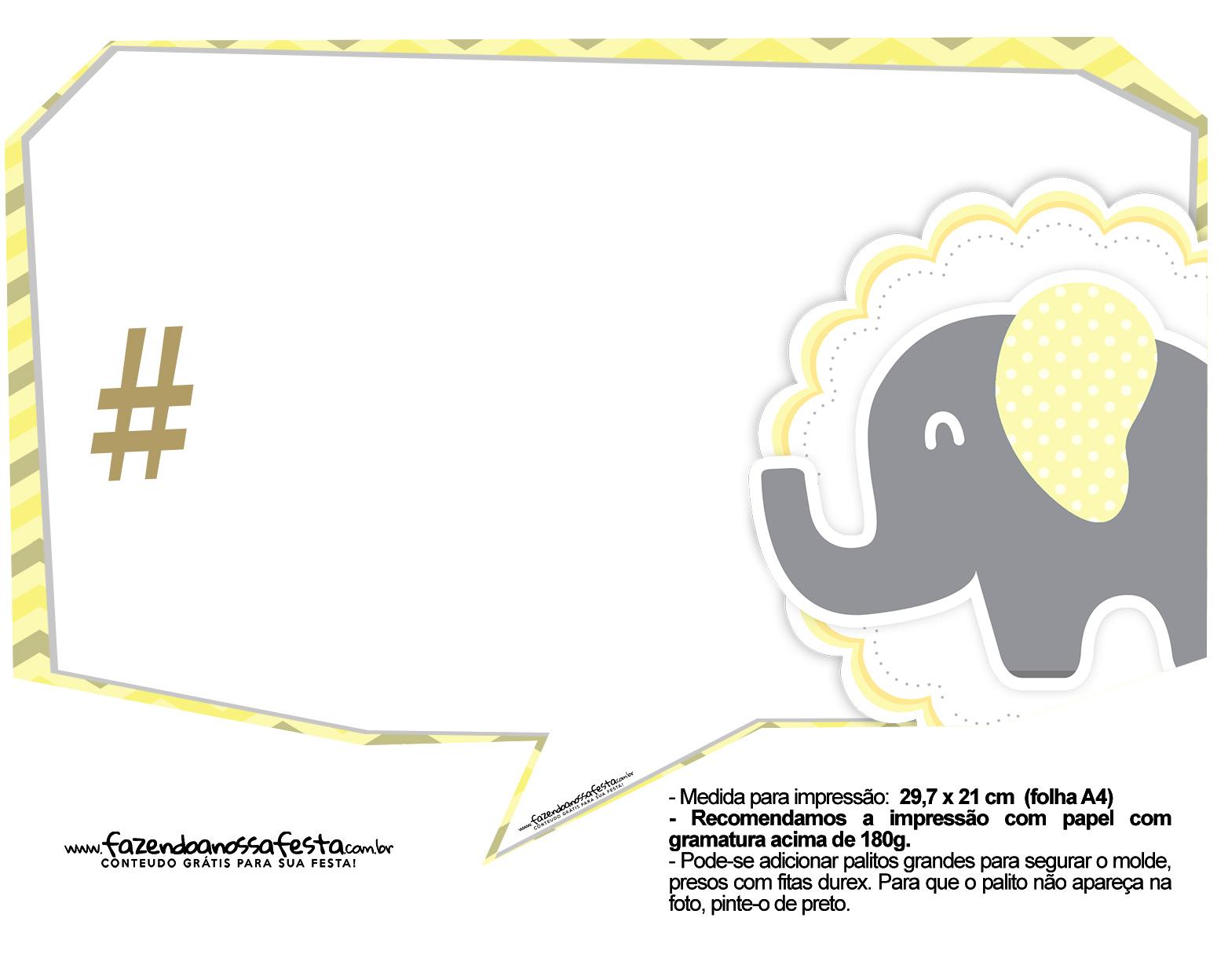 Plaquinhas para Festa Elefantinho Amarelo e Cinza Chevron 2