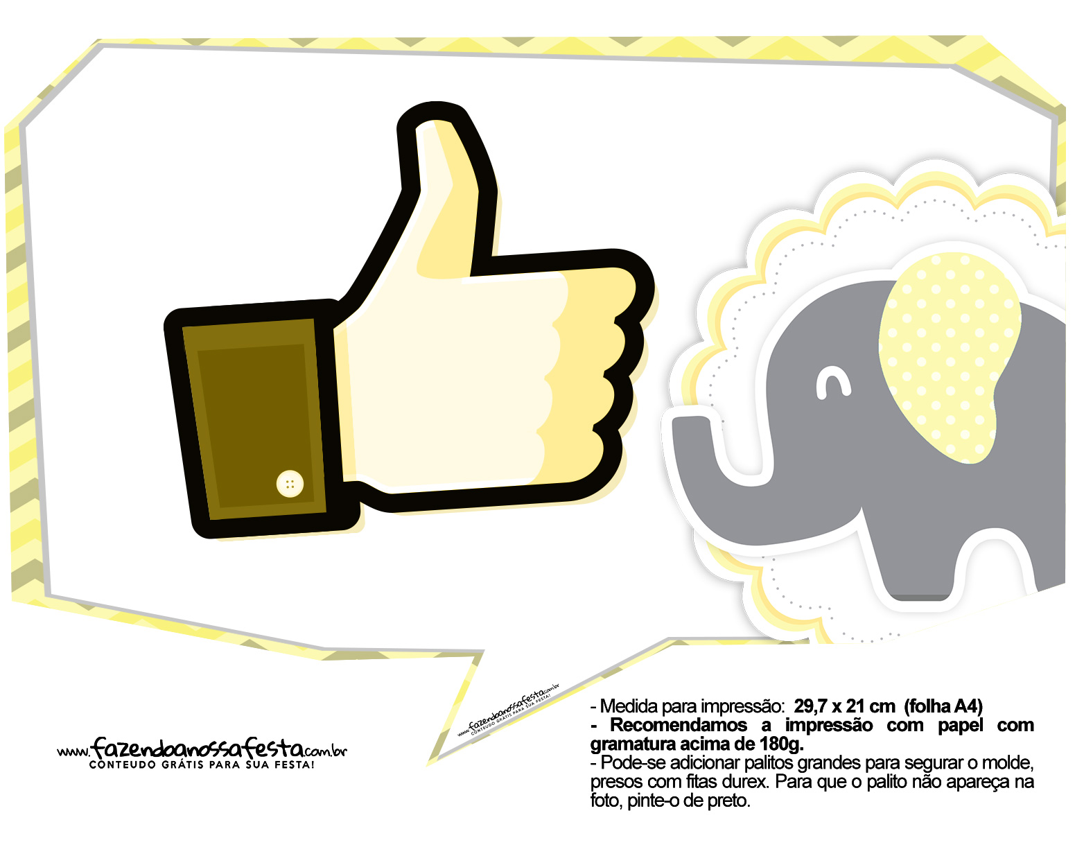 Plaquinhas para Festa Elefantinho Amarelo e Cinza Chevron 21