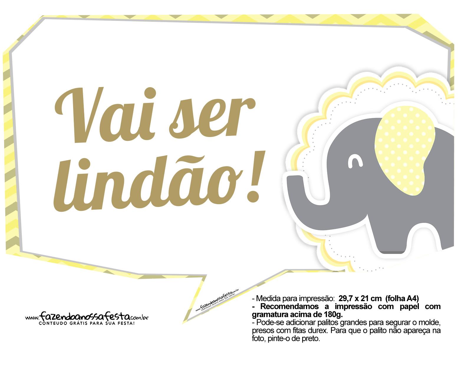 Plaquinhas para Festa Elefantinho Amarelo e Cinza Chevron 3