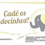 Plaquinhas para Festa Elefantinho Amarelo e Cinza Chevron 5