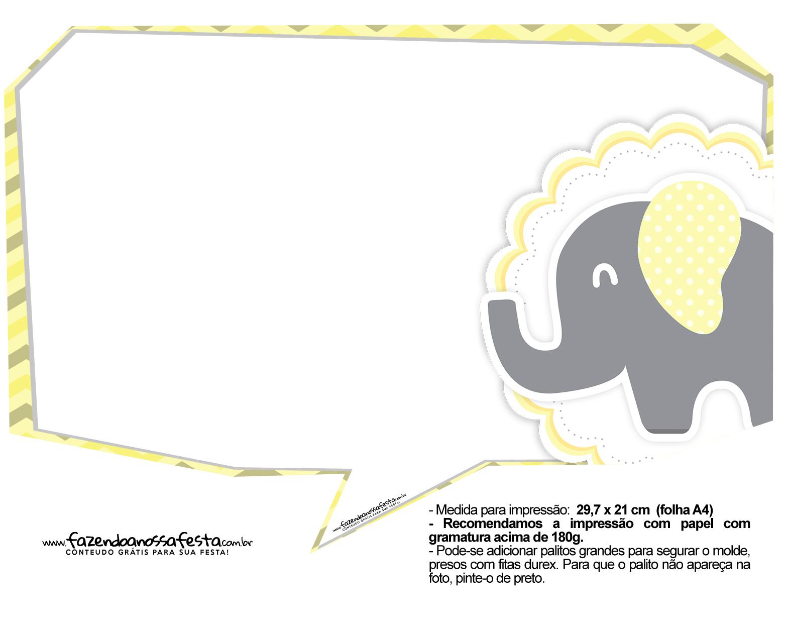Plaquinhas para Festa Elefantinho Amarelo e Cinza Chevron 6