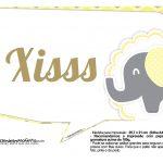 Plaquinhas para Festa Elefantinho Amarelo e Cinza Chevron 7