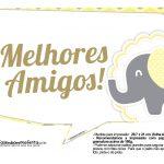 Plaquinhas para Festa Elefantinho Amarelo e Cinza Chevron 9