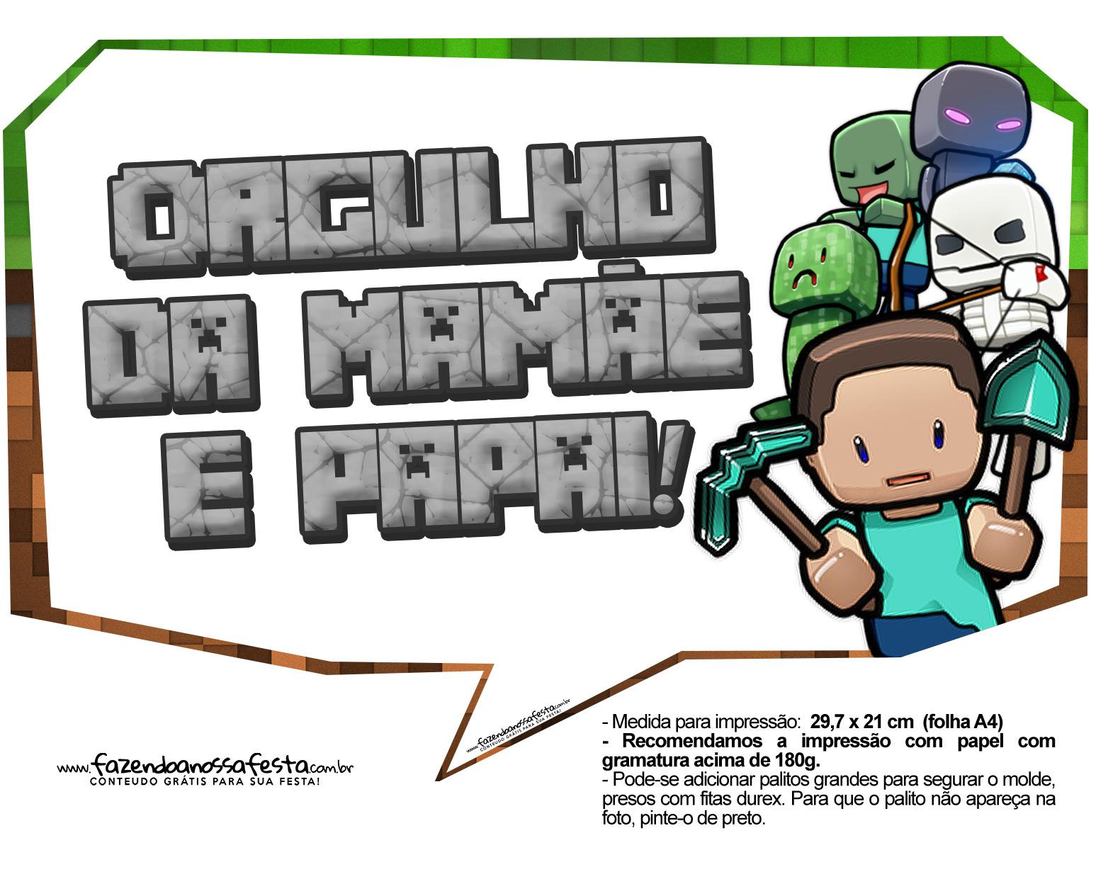 Letras Minegraft Fazendo A Nossa Festa: Plaquinhas Para Festa Infantil Minecraft 11