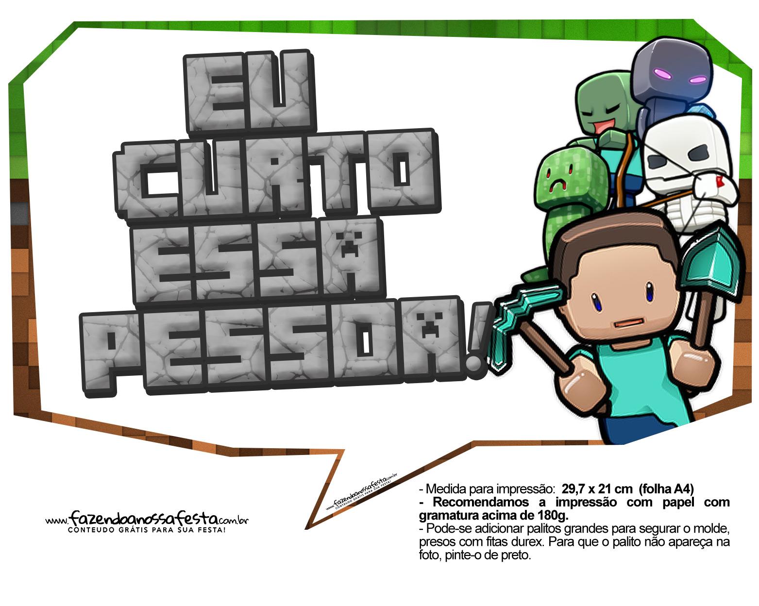 Plaquinhas para Festa Minecraft 15
