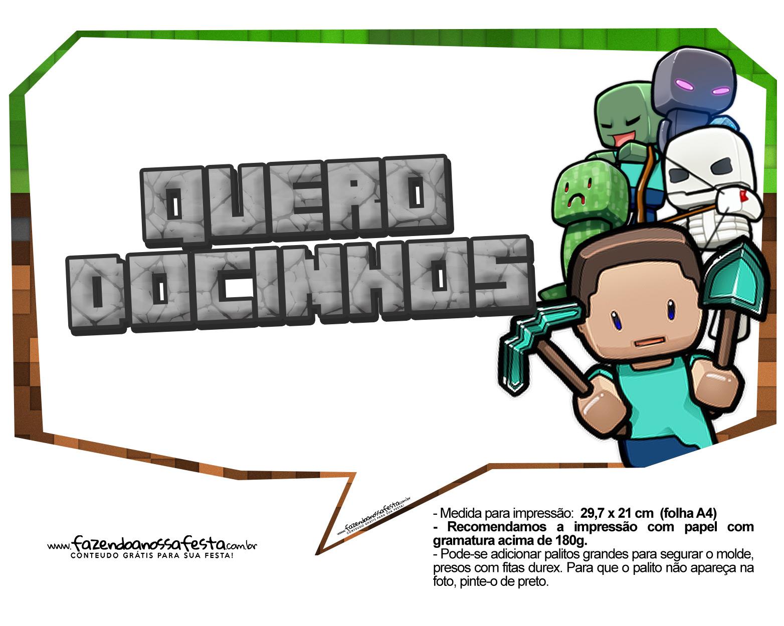 Plaquinhas para Festa Minecraft 21