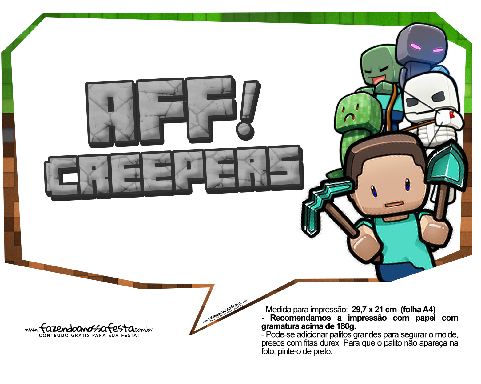 Plaquinhas para Festa Minecraft 4