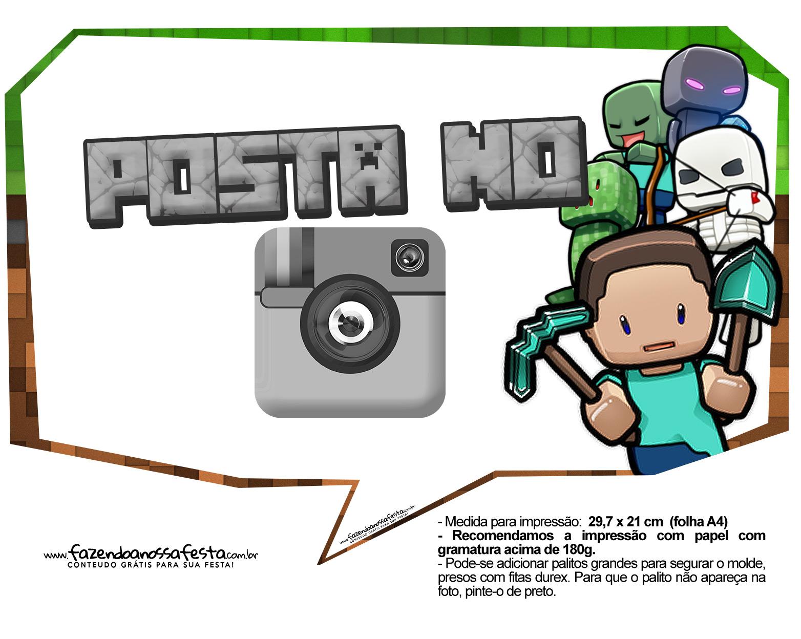 Plaquinhas para Festa Infantil Minecraft 8